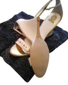Baby Phat WHITE /GOLD ALL LEATHER Wedges