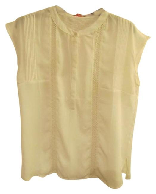 English Laundry Straight Pleats Lace Detail Top Ivory