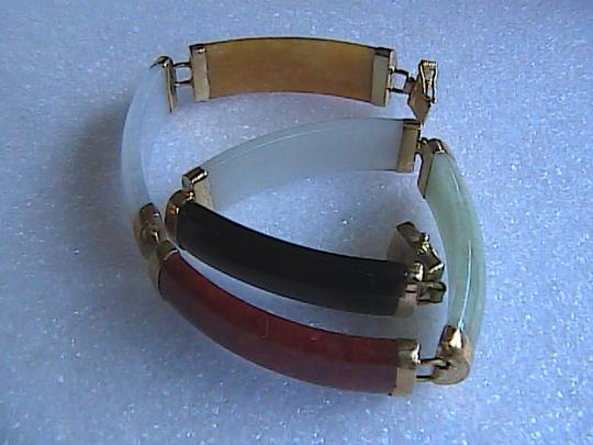 Unknown Brand New 14k Solid Yellow Gold Multi Color Jade Bracelet