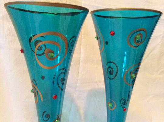 Blue and Green Toasting Flutes Or Bud Vase with Gold Swirls Crystal Rhinestones
