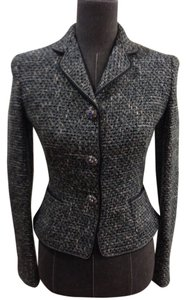 Elie Tahari Tweed Jacket Jeweled Buttons Decorative Piping Green Gray Fitted Lapel Waist Length Black, Teal, Blue, White Blazer