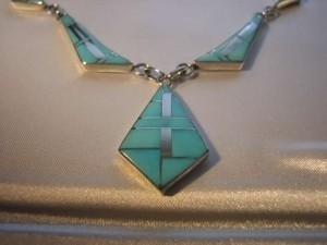 Navajo Indian DM Begay Stunning/Rare Modernist Navajo necklace-earring set-DM Begay