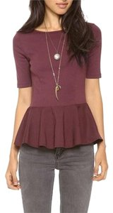 Three Dots Peplum Jersey T Shirt Wine