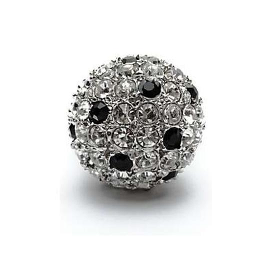 Kenneth Jay Lane Kenneth Jay Lane Silver-Tone Disco Ball Crystal & Jet Cocktail Ring