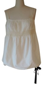 Vera Wang Bubble Hem Seed Pearl Trim Feminine Top ivory