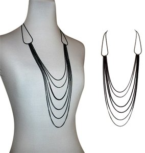 Adia Kibur Black Multi Chain Necklace