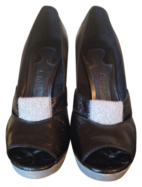 Chloé Black & Grey Pumps Size US 8.5 Regular (M, B) Chloé Black & Grey Pumps Size US 8.5 Regular (M, B) Image 1