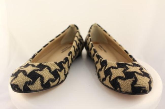 Item - Womens Beige Flats Leather Shoes Houndstooth Textile Black