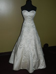 Jasmine Couture Bridal Gold Satin Tr244 Formal Wedding Dress Size 10 (M)