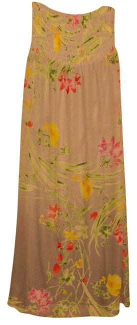 Item - Gray Flowered Long Casual Maxi Dress Size 12 (L)