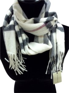 Burberry Ivory Check 100% Cashmere Scarf