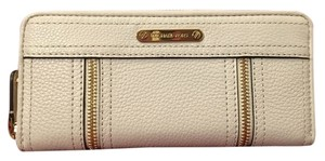 Michael Kors Large Genuine Leather Wallet Studs Wristlet in Creamy White and Gold