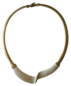 Lovely white enamel on goldtone necklace