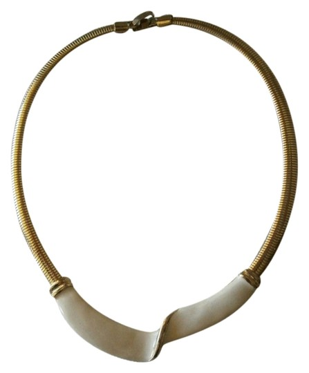 Other Lovely white enamel on goldtone necklace