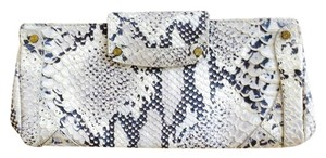 Cole Haan White/Grey Snake Press Clutch
