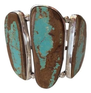artist Navajo Turquoise Silver Bangle Bracelet Signed By Artist