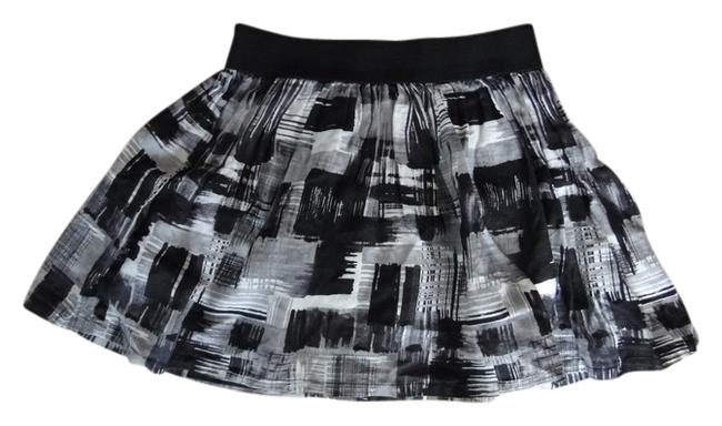 Twenty One Painterly Print Pattern Printed Mini Flouncy Linen Mini Skirt Grey/multi