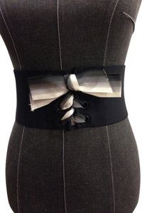 Other Wide Elastic Corset Belt With Black and White Ribbon Lace