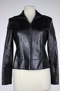 Marc Jacobs York Womens Solid Long Sleeve 100 Leather Motorcycle Jacket