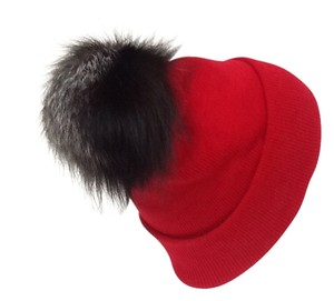 Winter Acrylic Red Hat With Natural Silver Fox Fur Pom Pom One Size Fits All