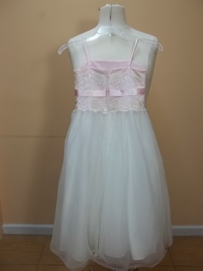 Alfred Angelo Pink/Ivory Satin 6409 Formal Bridesmaid/Mob Dress Size OS (one size)