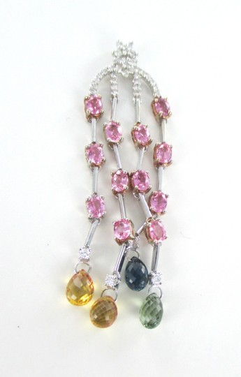 Other Stunning 18kt SOLID White Gold Dangle Pendant with Diamonds and Gemstones on Sale!