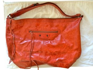 Balenciaga Slouchy 70s Orange Leather Hobo Bag