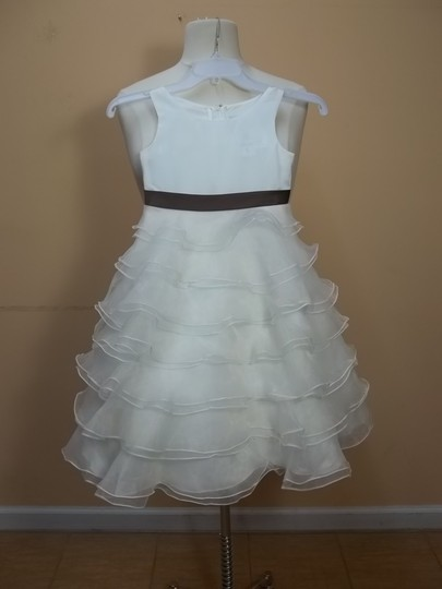 Alfred Angelo Ivory/Mocha Satin 6611 Formal Bridesmaid/Mob Dress Size OS (one size)