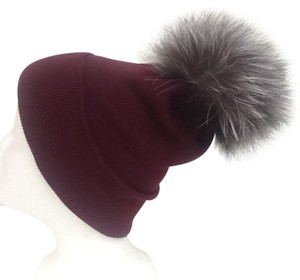 Winter Acrylic Wine Beanie Hat With Natural Silver Fox Fur Pom Pom One Size Fits All