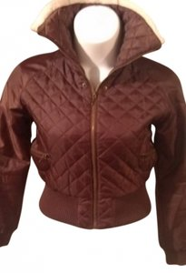 Other Brown Trimmed With Faux Fur Elastic Ribbed Waistband Zipper Front 2 Zipper In The Front High Collar To Keep The Wind L Jacket