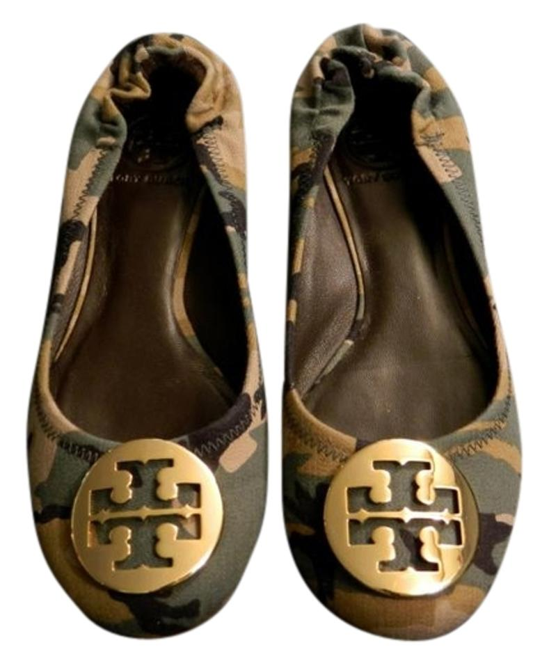 b33022d61c79 Tory Burch Ballet Leather Gold Runway Rare CAMOUFLAGE Flats Image 0 ...