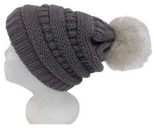 Other Winter Acrylic Gray Beanie Cable Knit Hat With Natural Sable Fur Pom Pom One Size Fits All