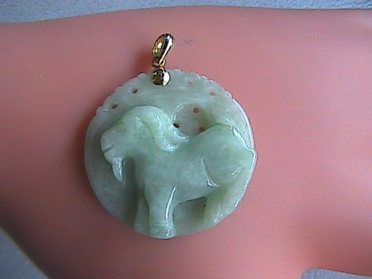 Vintage Vintage 14k Yellow Gold Apple Green Jade Goat Jade Pendant