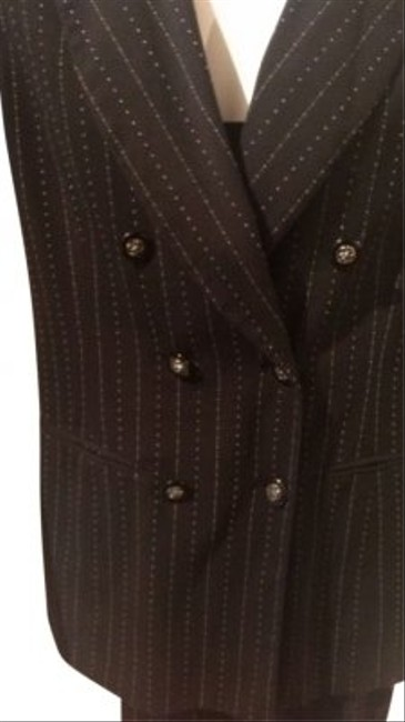 FOCUS ON SUITS Design Black Pant With Faint Pinstripe Size 6