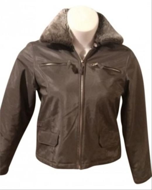 Neutral Zone Outerwear Ladies Size M With Faux Fur Collar (detachable). Color 2 Zipper On Left And Right Breast 1 Front Nice Detail In Military Jacket
