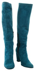 Hogan Knee High Heels Suede Turquoise Boots