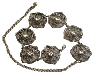 Chico's Metal And Rhinestone Chain Belt