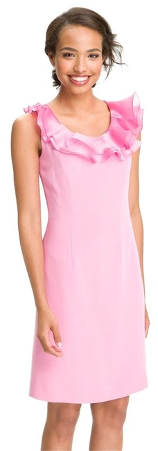 Preload https://item3.tradesy.com/images/flores-and-flores-pink-ruffle-neck-silk-shift-above-knee-cocktail-dress-size-2-xs-1153412-0-0.jpg?width=400&height=650