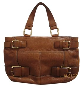Michael Kors Calfskin Luggage Satchel in brown
