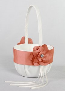 David's Bridal Coral and Ivory Style Db74fgb Flower Girl Basket
