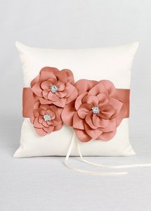 David's Bridal Coral and Ivory Db74rp Ring Bearer Pillow