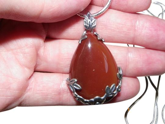 Preload https://item5.tradesy.com/images/red-natural-stone-teardrop-925-sterling-silver-chain-necklace-1153614-0-0.jpg?width=440&height=440