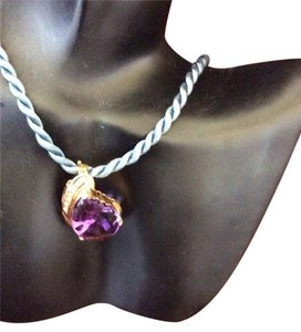 BIG 14k Diamond And Amethyst Pendant with free choker