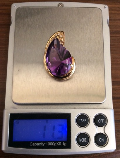 Other BIG 14k Diamond And Amethyst Pendant with free choker