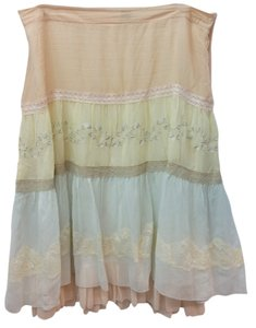 Kensie Silk Skirt PEACH/LIGHT YELLOW/OFF-WHITE