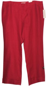 Coldwater Creek Linen Wide Leg Pants RED