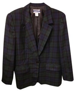Pendleton Vintage Blue and Green Tartan Blazer