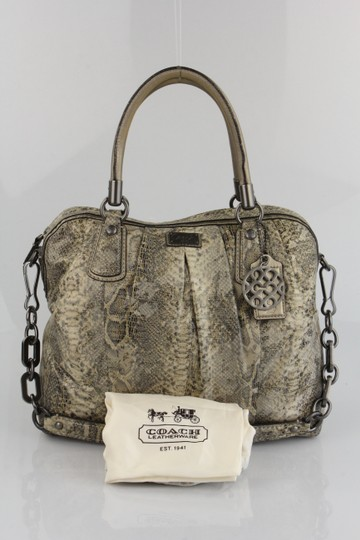 Coach Leather Handbag Tote in Snakeskin Print