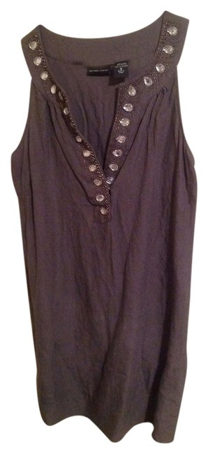 New York & Company Beaded Linen Top Grey