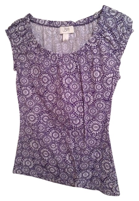 Ann Taylor LOFT Top Purple & White